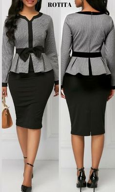 With new styles added each mor… Split Neck Bowknot Embellished Peplum Waist Dress.With new styles added each morning,you will discover fabulou finds for you,your family,&your home. African Attire, African Fashion Dresses, African Dress, Elegant Dresses, Sexy Dresses, Dresses For Work, Long Dresses, Office Outfits, Chic Outfits