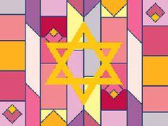 Geometric Background in Purple & Reds Tallit Canvas