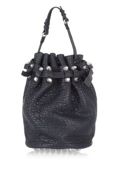 The Bucket Bag For those looking for a stylish alternative to a backpack, try a bucket bag. It's the ideal roomy carryall for weekend festivities. Alexander Wang Diego Textured-#Leather Shoulder Bag, $875; net-a-porter.com