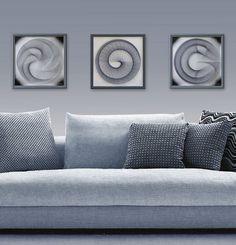 Wall Art Set 3D moderne Zen Abstraktion String von FeniksArtDeco