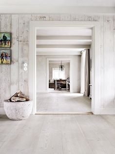 I am a huge fan of white floors. I have just had installed white French oak throughout the entire house and could not be happier. We live at the beach and there's an incredible amount of natural light that reflects from the sea. House Design, Home, White Floors, House Styles, New Homes, Contemporary House, White Interior, White Washed Furniture, Interior Design