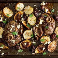 The simple, bold flavors of Greek cuisine come together beautifully in this easy lamb steak tray bake. Greek Recipes, Meat Recipes, Dinner Recipes, Cold Meals, One Pot Meals, Healthy Family Dinners, Easy Meals, Weeknight Dinners, Healthy Meals