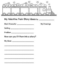 Story idea printable page from The Valentine Train Roll-a-Story FREEBIE