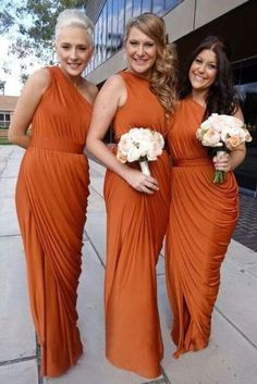 20 One Shoulder Bridesmaid Dresses For Fall Weddings: #2. Awesome orange draped dresses for fall weddings
