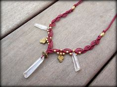 Deep Red  Macrame Necklace, Brass Beads, Clear Quartz Crystals