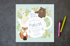 Tea Party With Animals Children's Birthday Party Invitations by Four Wet Feet Studio at minted.com