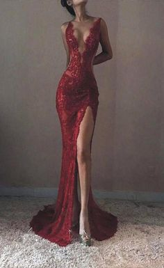 Sexy Mermaid Red Lace Side Slit Backless Tulle Long Prom Dresses,VPPD5 –  VeryProm 377d26295d