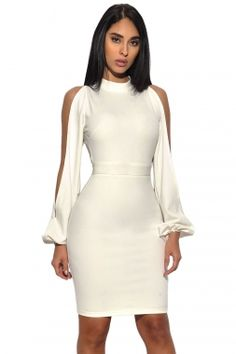White Cut Out Sleeve Stretch Crepe Bandage Party Dress This elegant bodycon dress is perfect for the most upscale events. It showcases flowy cut out sleeves leading to a high neck and open back. The front of the dress provides the perfect canvas for an Sexy Dresses, Cute Dresses, Evening Dresses, Casual Dresses, Fashion Dresses, Dresses With Sleeves, Bandage Dresses, Fashion Clothes, Sleeve Dresses