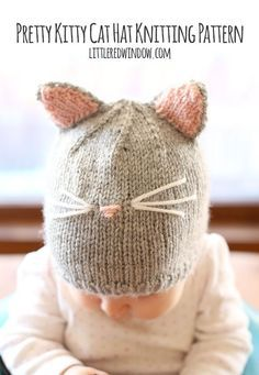 Pretty Kitty Cat Hat Free Knitting Pattern! | http://littleredwindow.com
