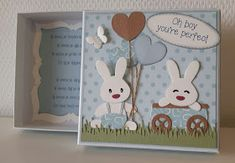 Marianne Design Cards, Creative Artwork, Baby Cards, Bunnies, Cardmaking, Easter, Gift Boxes, Birthday Cakes, Frame