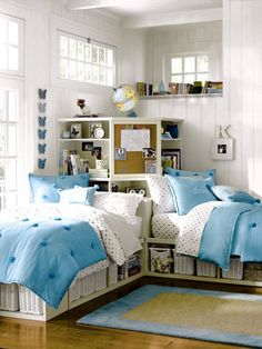 Corner beds help save floor space and offer space for shelving behind the beds