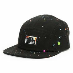 Splash some color into your outfit with The Hundreds Sprinkle black 5 panel hat. Instantly improve your hat collection with the black 5 panel colorway, all-over multicolor paint splatter pattern, Adam Bomb logo patch at the front, eyelet vents, and a blac