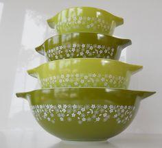 Vintage Pyrex Spring Blossom Green Cinderella by BlueHouseVintage, $54.00