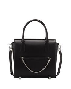 $1,095, Alexander Wang Chastity Large Leather Satchel Bag Black. Sold by Bergdorf Goodman. Click for more info: https://lookastic.com/women/shop_items/139393/redirect