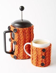 Coffee Press And Mug Cozies. Free crochet pattern.