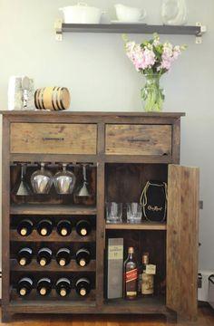 Items similar to Custom Made Wine Rack / Dry Bar on Etsy Wine Storage Cabinets, Wine Rack Cabinet, Liquor Cabinet, Liquor Storage, Alcohol Cabinet, Rustic Wine Racks, Wine Rack Bar, Vinyl Storage, Home Decor