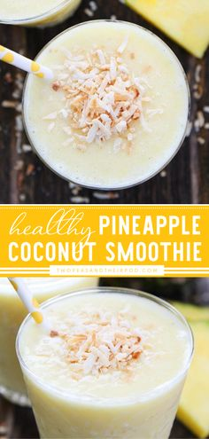 Pineapple Coconut Smoothie will transport you to a tropical island! This delicious and healthy recipe for breakfast is so easy to blend up! Just combine fresh pineapple, coconut milk, yogurt, coconut, and ice in a blender and blend until smooth. It's the best smoothie recipe! Fun Easy Recipes, Healthy Recipes, Healthy Options, Yummy Recipes, Yummy Smoothie Recipes, Yummy Smoothies, Easy Meals For Two, Quick Easy Meals, Coconut Smoothie