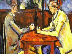 Les joueurs de cartes - P. Cézanne - 1885/90. Reproduction à l'acrylique sur panneau en bois, vernie, vendue sans cadre. Travail artisanal soigné par copiste. Velours adhésif au verso du tableau. Dimensions : 39 x29 cm. Épaisseur : 5 mm. A vendre. Prix : 60 €.