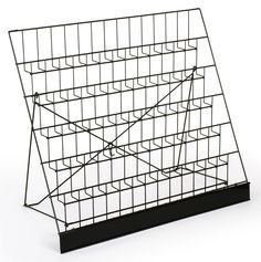 """6-Tiered 29"""" Wire Display Rack for Tabletops, 2.5"""" Open Shelves, with Header - Black"""