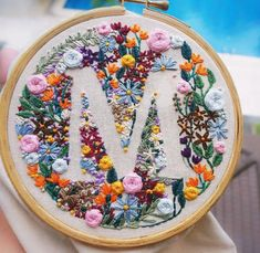 Wonderful Ribbon Embroidery Flowers by Hand Ideas. Enchanting Ribbon Embroidery Flowers by Hand Ideas. Embroidery Letters, Flower Embroidery Designs, Simple Embroidery, Hand Embroidery Stitches, Silk Ribbon Embroidery, Embroidery Hoop Art, Cross Stitch Embroidery, Embroidery Ideas, Embroidery On Clothes
