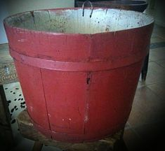 Old sap bucket with original red paint Red Cottage, Primitive Antiques, Red Paint, White Paints, Sale Items, Red And White, Planter Pots, Bucket, The Originals