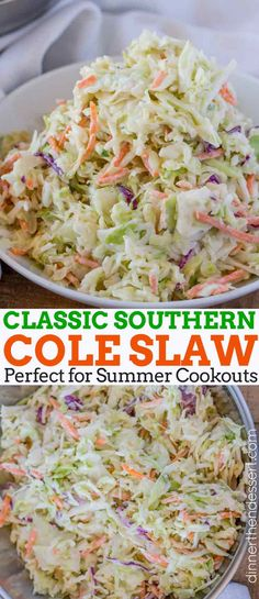Easy Cole Slaw made in just 5 minutes with the perfect homemade dressing, this is the ultimate side dish for summer and bbqs. | #coleslaw #southerncoleslaw #sidedish #summerrecipes #bbqrecipes #easysummerrecipes #classiccoleslaw #dinnerthendessert