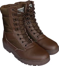 Brown Army Leather Combat Patrol Boots Cadets Military Work Security (7 UK)