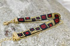 16K gold plated finish/ Black & red loom beaded bracelet/ Bead