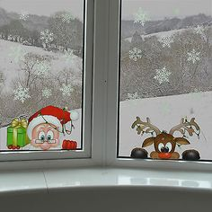 Peeking Santa & Rudolph Static Window Clings 28 Snowflakes Stickers Christmas