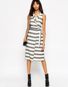 Bild 1 von ASOS – Premium-Wickelkleid mit D-Ring und strukturierten Streifen