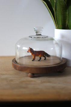 Vintage Glass Cloche with Wood Home Decor Terrarium Glass
