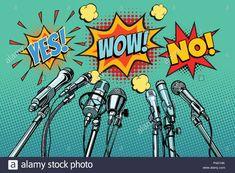 Buy Press Conference Microphones Background by studiostoks on GraphicRiver. press conference microphones background, Yes no wow. Illustrations, Graphic Illustration, Kitsch, Desenho Pop Art, Retro Vector, Vintage Drawing, Arte Pop, Anime Artwork, Architecture Photo
