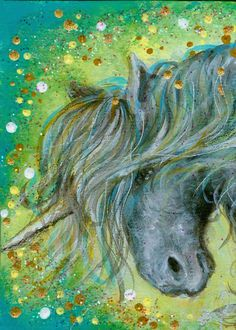 GLAMUROUS ACEO Print Beautiful Gray Unicorn with by dianaarcuri