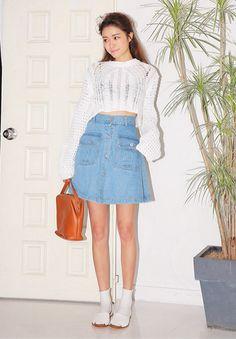 Light Wash A-Line Denim Skirt
