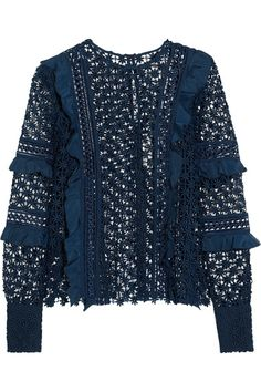 Self-Portrait - Ruffled Crepe-trimmed Guipure Lace Top - Midnight blue - UK14
