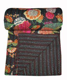 Stunning Indian Cotton Black Kantha Quilt Bedspread Blanket Handmade Queen Size