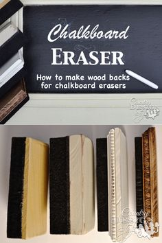 How to DIY your chalkboard eraser with vintage inspired wood back. Country Design Style