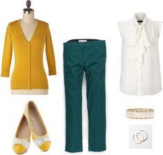 """""""green and yellow"""" by shoestringfashion on Polyvore"""
