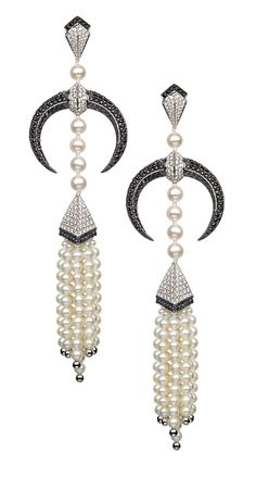 Shaun Leane cultured pearl and diamond earrings from the Tribal Deco collection (£18,750).