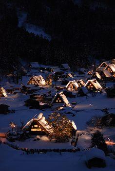 Blue winter night in Shirakawa-go, World Heritage, Japan Traditional Folk Houses, Gifu, Japan