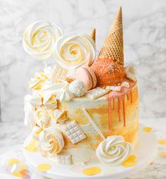 Kokos – Pfirsich Torte – Der perfekte Geburtstagskuchen für einen besonderen Menschen – jasmins good life- Eiswaffel Torte - Drip Cake - Baiser Dad Cake, Cake & Co, Cake Pops Stiele, Little Cakes, Drip Cakes, Cookie Desserts, Cake Cookies, Vanilla Cake, Food Inspiration