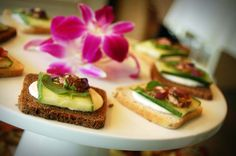 Cucumber Watercress Cream Cheese tea Sandwiches with red onion marmalade