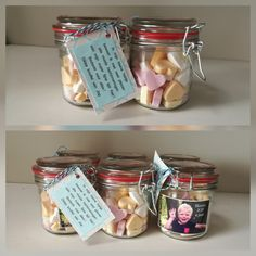 Traktatie leidster afscheid kdv Baby Kids, Mason Jars, Treats, Gifts, Food, Sweet Like Candy, Goodies, Favors, Mason Jar