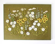 Wild flowers crewel embroidery wall hanging