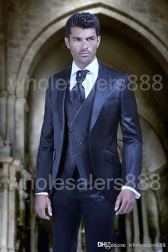 New Arrival Mens Dinner Party Prom Suits Groom Tuxedos Groomsmen Wedding Blazer Suits (Jacket+Pants+Vest+Tie) Groom Tuxedo Wedding, Wedding Men, Wedding Suits, Wedding Tuxedos, Wedding Ideas, Cheap Suits For Men, Best Suits For Men, Smoking Azul, Prom Suit Jackets