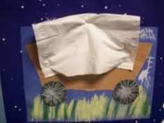Cowboy Covered Chuck Wagon Art - no instructions but looks like it is just a simple drawing and collage style wagon with a tissue to cover it.