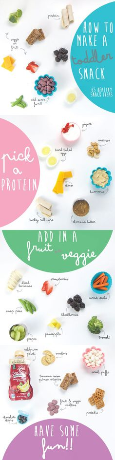 Easy method on How to Make a Toddler Snack - start with some protein, add in a fruit or veggie (or both:) and then finish off the snack with a little something fun! Over 65 fun snack ideas for your toddler! Toddler Menu, Toddler Lunches, Toddler Food, Healthy Meals For Kids, Kids Meals, Healthy Snacks, Healthy Eating, Work Meals, Kid Snacks