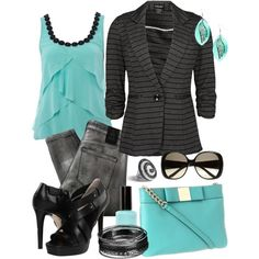 """Aqua, Black, and Gray"" by pamnken on Polyvore"