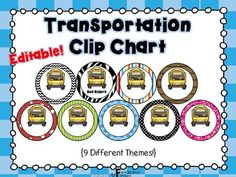 Transportation Clip Chart {Editable!}