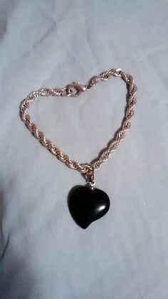 Onyx Stone Heart by SustainableJewellry on Etsy